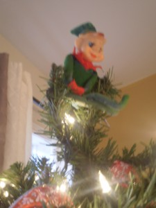 Jasper kicked our Christmas angel off of her post for the day and donned the top of our tree himself.