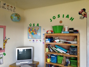 All of our school supplies, journals, and text books, and our geography corner.
